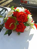 Композиция красно-белая цветочная на присоске