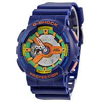 Часы синие G-Shock - GA-110, стальной бокс, зеленый циферблат