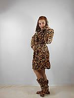 Леопардовый махровый халат + махровые сапожки