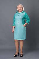 Платье недорого  Тори   повседневное   больших размеров красивое  модели в размерах 52, 54, 56, 58 бирюзовое