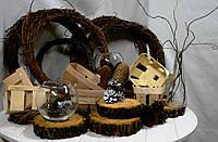 Срубы, корзинки, венки из веток, вазочки, декор в стиле рустик