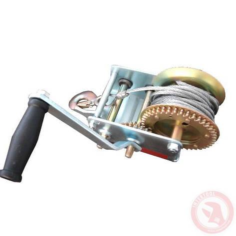 Лебедка рычажная барабанная стальной трос 900 кг INTERTOOL GT1455, фото 2