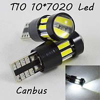 LED лампа в габарит SL LED, с обманкой can bus, цоколь W5W(T10)  10 led 7020, 9-30 В. Белый 6000K