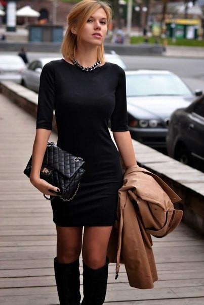 64e141f074a Классическое Трикотажное Повседневное Платье Черное — в Категории ...