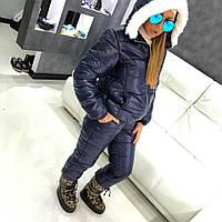 Женский теплый лыжный костюм,3Д буквы,эко мех.