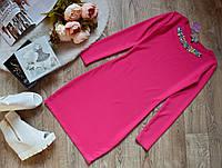 Красивое платье с ЦВЕТНОЙ фурнитурой розовое