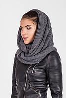 Ультрамодный шарф-петля крупной вязки темно-серый