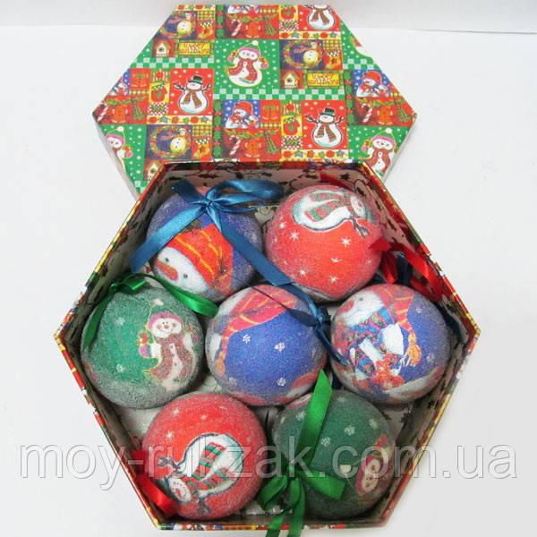 """Шары новогодние в подарочной коробке матовые """"Снеговичок"""" 7 шт. 75 мм."""