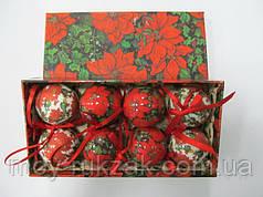 """Набор елочные шары глянцевые """"Красные цветы"""" 8 шт. 50 мм."""