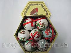 """Набор елочные шары в подарочной коробке глянцевые """"Птица"""" 14 шт. 75 мм."""
