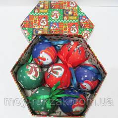 """Шары новогодние в подарочной коробке глянцевые """"Снеговичок"""" 7 шт. 75 мм."""