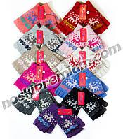 Перчатки-митенки подростково-женские шерстяные одинарные Корона, ассорти, 5575