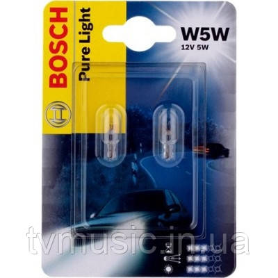 Автомобильные лампы Bosch Pure Light W5W 12V 5W (1987301033)