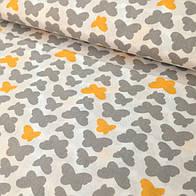 Ткань с желтыми и серыми бабочками на белом фоне(№176)
