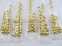 Шарики для декора золотые в стиках, 5 мм