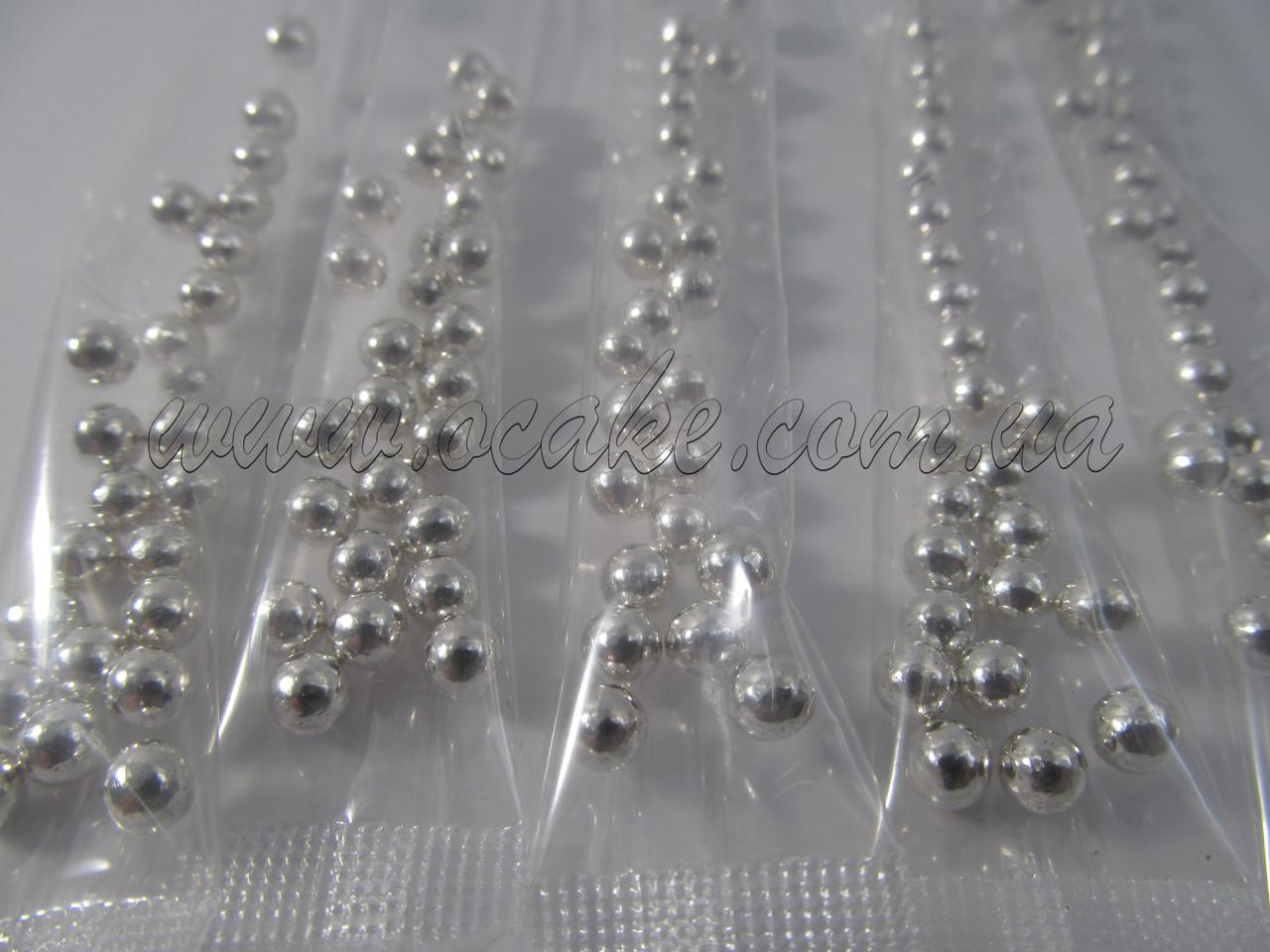Шарики для декора серебряные в стиках, 5 мм