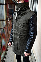 Мужская зимняя парка GLO - story c кожаными рукавами