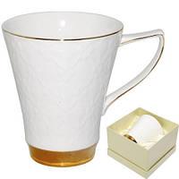 """Чашка фарфоровая """"Вдохновение белая"""" 370 мл"""