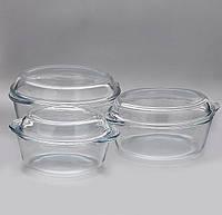 Набор стеклянных кастрюль с крышкой