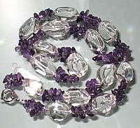 Ожерелье из горного хрусталя и аметиста