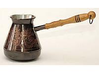 Кофейная турка 400мл TUR3, Медная кофейная турка с узором Роза, Турка медная, турка для кофе, Джезва, джезвы
