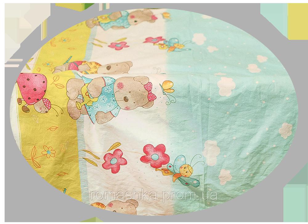 """Простынь на резинке (БЕЗ ОСНОВНОГО РИСУНКА) в детскую кроватку """"Мишка садовод"""" 120х60 см, ТМ Ромашка"""