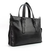 Портфель-сумка кожаная для документов, папка мужская черная Bottega Veneta 6129-3