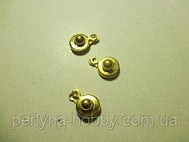 Застібка-кнопка №2, 14 мм. золото, комплект 3 шт.