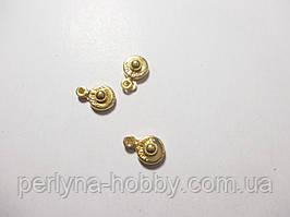 Застібка-кнопка №1, 12 мм. золото, комплект 3 шт.
