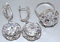 """Набор  """"серьги и кольцо"""",покрытие родием. Камень: белый циркон. Высота серьги: 4 см Ширина: 20 мм 19 р. кольца"""