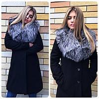 Теплое женское кашемировое зимнее пальто на утеплителе, с искусственным мехом на воротнике