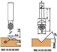 Фрезы концевые профильные для обработки на фрезерно-копировальных станках с чпу, с мех. креплением HM ножей