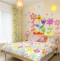 """Наклейка на стену, виниловые наклейки, наклейка цветок, наклейки на шкаф """"Полевые цветы"""" 90*80см (лист50*70см)"""