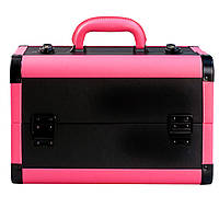 """Чемодан для косметики, алюминиевый """"Matte Series"""", черный с розовым ободком, фото 1"""