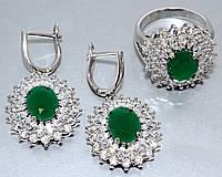 """Набор  """"серьги и кольцо"""",покрытие родием. Камень: белый и зелёный циркон. Высота серьги: 3.5 см Ширина: 20 мм"""