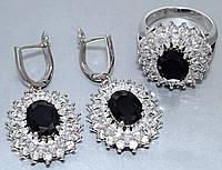 """Набор  """"серьги и кольцо"""",покрытие родием. Камень:белый и чёрный циркон. Высота серьги: 3.5 см Ширина: 20 мм"""
