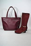 Женская кожаная сумка бордовая кожа