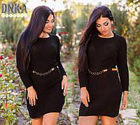 Черное вязаное платье с поясом, Турция. Арт-9091/35