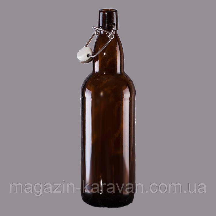 Бутылка пивная 1,0 л под бугельную крышку коричневая