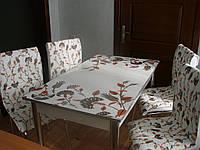 """Комплект стол и стулья для кухни """"Васильки"""" мягкий стул (Лотос-М)"""