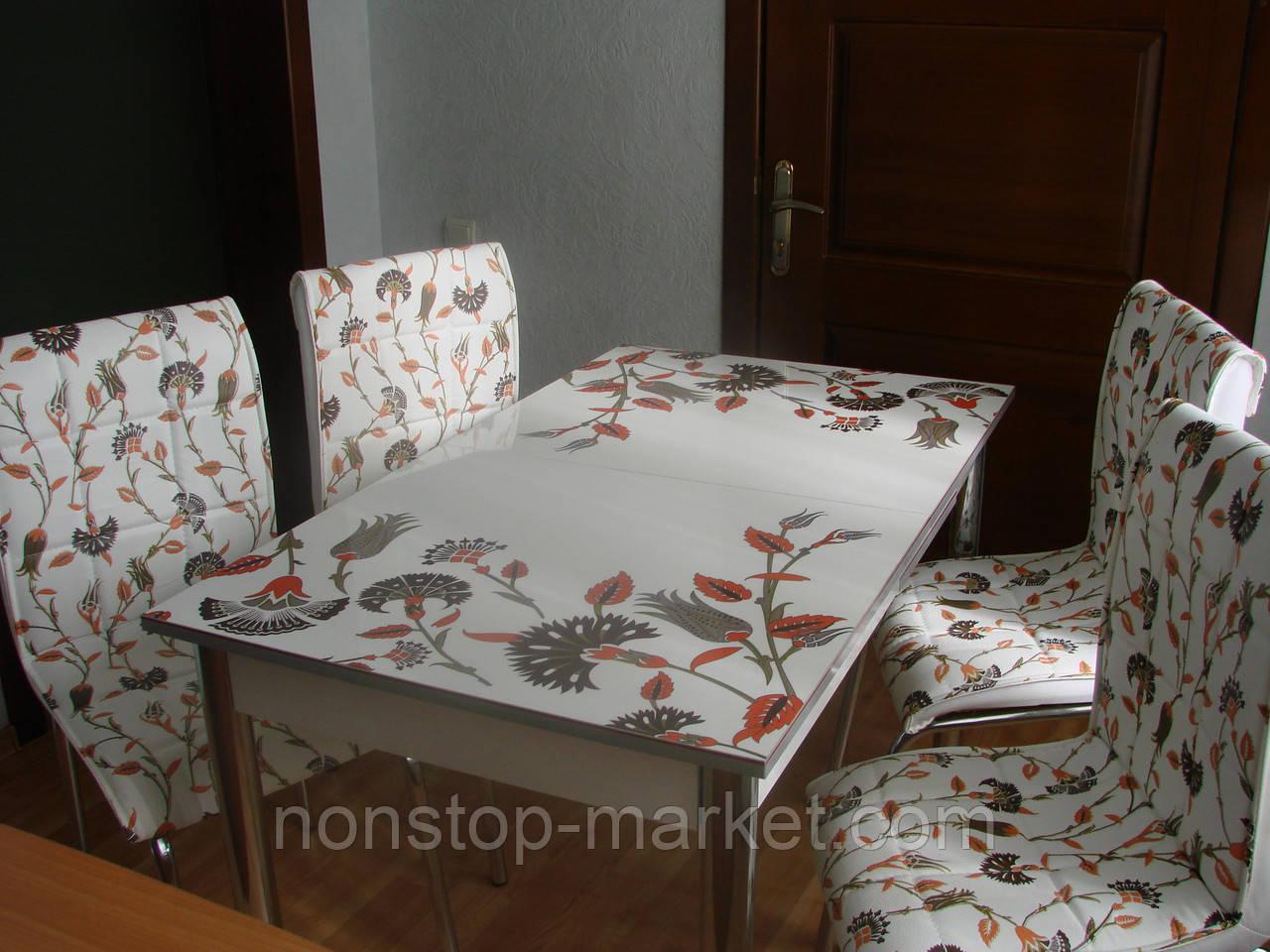 комплект стол и стулья для кухни васильки мягкий стул лотос м