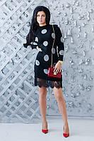 Демисезонное черное платье в горох ZL1016