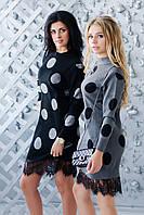 Демисезонное серое платье в горох ZL1088