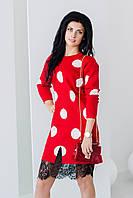 Демисезонное красное платье в горох ZL1089