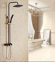 Стойка в ванную комнату со смесителем краном, лейкой и верхним душем