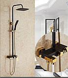 Стойка в ванную комнату со смесителем краном, лейкой и верхним душем, фото 2