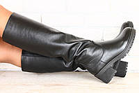 Женские кожаные сапоги на тракторной подошве и квадратном устойчивом каблуке, черные, с замком