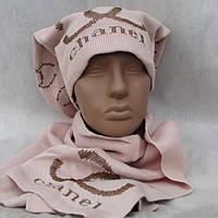 Комплект шапка+шарф женский АССОРТИ