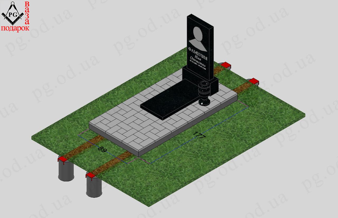 Памятник одинарный с установкой №5 + плита
