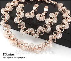 Комплект LUXURY ювелирная бижутерия золото 18к декор цирконы